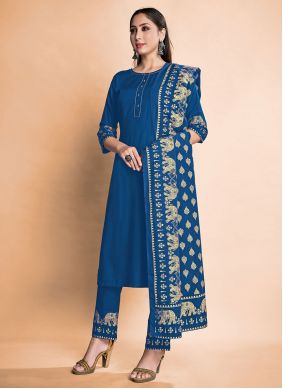 Rayon Pant Style Suit in Blue
