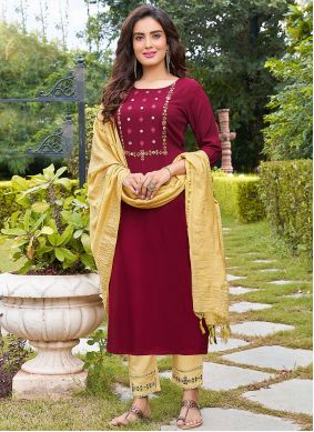 Maroon Rayon Party Pant Style Suit