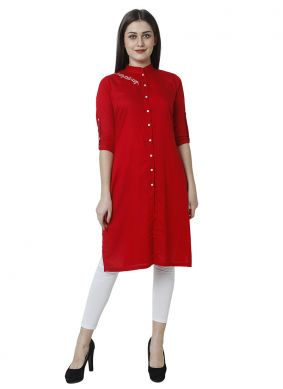 Rayon Plain Salwar Kameez in Red