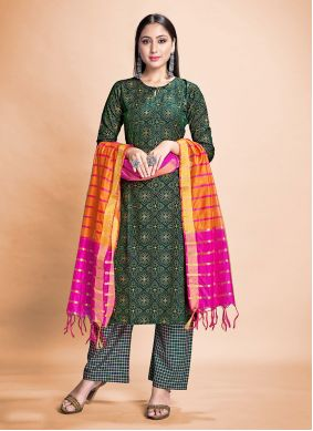 Rayon Green Print Pant Style Suit