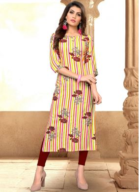 Rayon Print Party Wear Kurti in Multi Colour