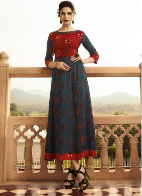 Rayon Printed Blue and Red Party Wear Kurti