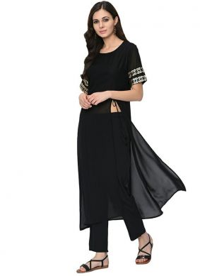 Rayon Printed Casual Kurti in Black