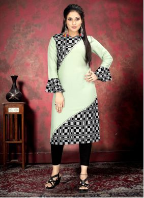 Rayon Sea Green Print Casual Kurti