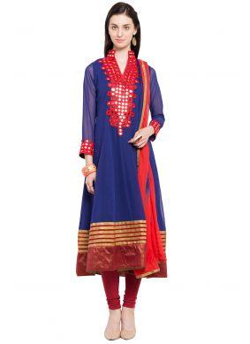 Readymade Anarkali Salwar Suit Mirror Faux Georgette in Blue