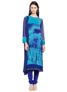 Readymade Churidar Salwar Kameez Printed Faux Georgette in Blue