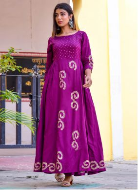 Purple Readymade Gown For Party