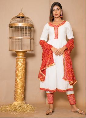 Readymade Salwar Kameez Lace Cotton in Off White