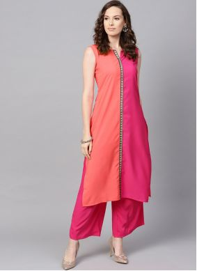 Readymade Salwar Kameez Lace Crepe Silk in Magenta and Peach