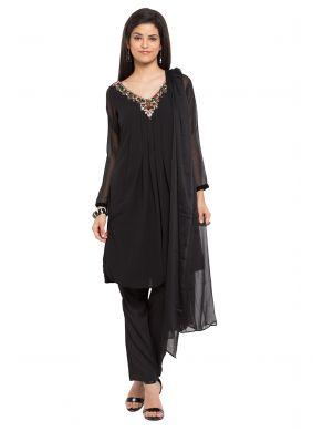 Readymade Salwar Kameez Plain Faux Georgette in Black