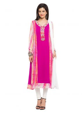 Readymade Salwar Kameez Printed Faux Georgette in Pink