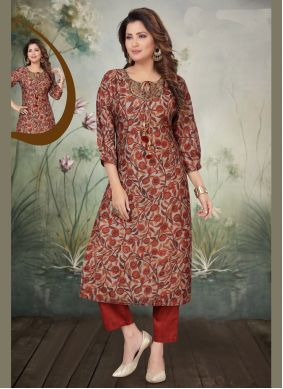 Readymade Salwar Suit Embroidered Art Silk in Maroon