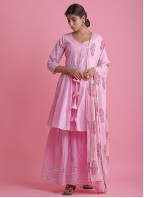 Readymade Suit Block Print Cotton in Pink