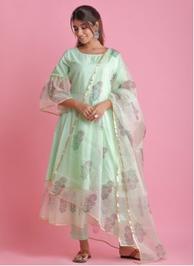 Readymade Suit Block Print Fancy Fabric in Green