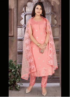 Readymade Suit Embroidered Chanderi in Peach