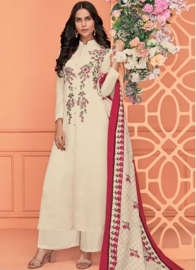 Readymade Suit Embroidered Viscose in White