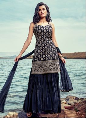 Readymade Suit Fancy Georgette in Black