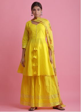 Yellow Readymade Suit For Festival