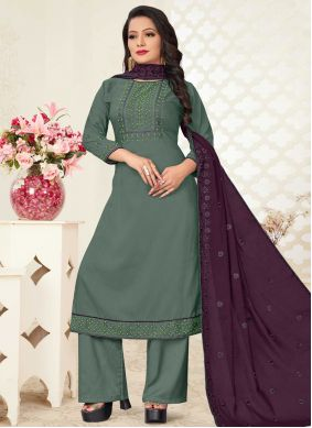 Green Readymade Suit For Festival