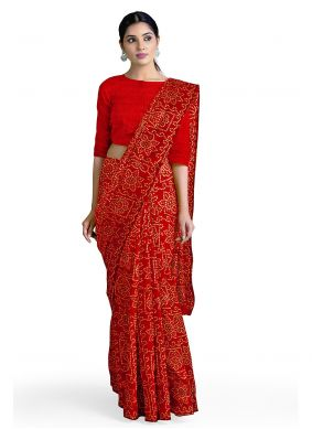 Red Abstract Print Faux Georgette Casual Saree