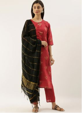 Red Abstract Print Party Trendy Salwar Suit