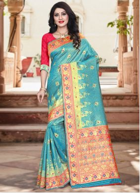 Red and Turquoise Weaving Silk Designer Traditional Saree