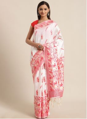 Red and White Woven Festival Traditional Saree