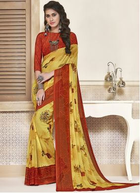 Red and Yellow Reception Saree