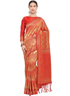 Red Art Silk Wedding Designer Traditional Saree