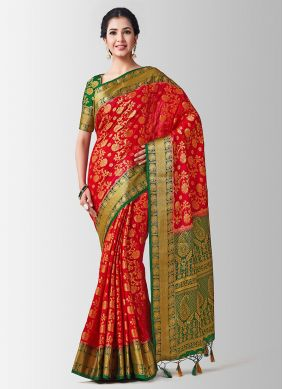 Red Art Silk Zari Designer Traditional Saree