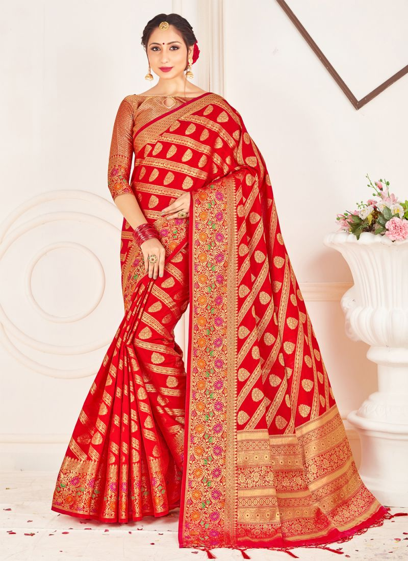 Red Banarasi Silk Weaving Contemporary Saree