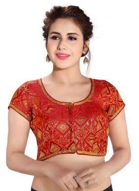 Red Brocade Reception Blouse