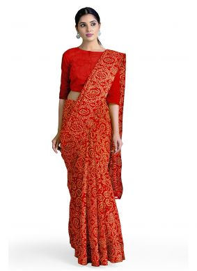 Faux Georgette Red Casual Abstract Print Saree