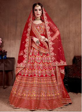 Red Ceremonial A Line Lehenga Choli