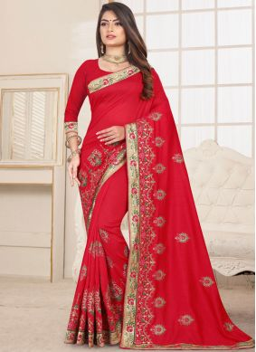 Red Ceremonial Fancy Fabric Classic Saree