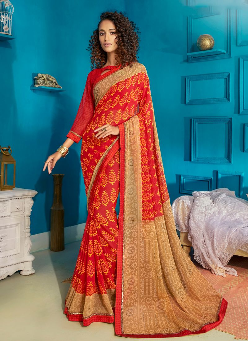 Red Ceremonial Georgette Contemporary Style Saree