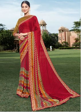 Red Color Georgette Bollywood Saree