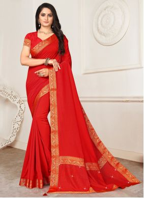 Red Color Casual Saree