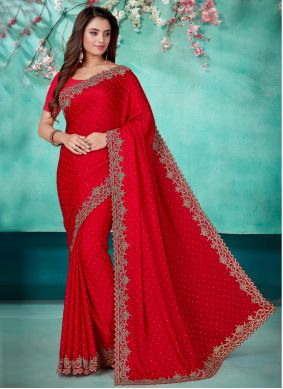 Red Color Designer Saree