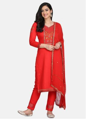 Red Color Designer Straight Suit