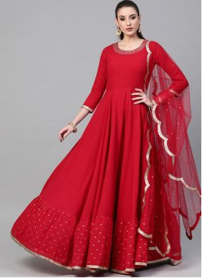 Red Color Floor Length Trendy Gown