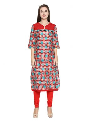 Red Cotton Casual Kurti