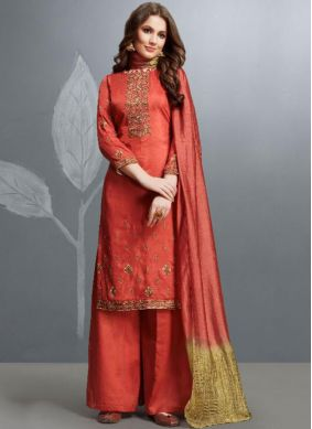 Red Cotton Ceremonial Designer Palazzo Salwar Kameez