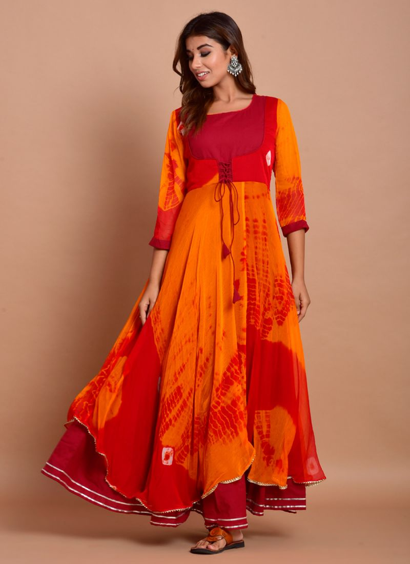 Red Cotton Printed Designer Gown