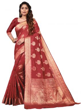 Red Cotton Weaving Classic Saree
