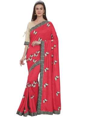 Red Embroidered Casual Designer Traditional Saree