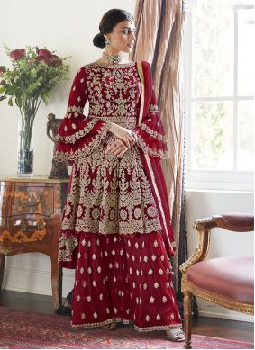 Red Embroidered Ceremonial Designer Palazzo Salwar Suit