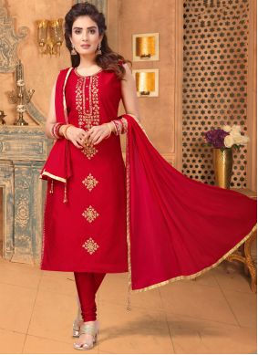 Red Embroidered Churidar Salwar Suit