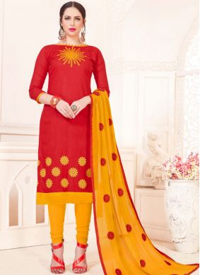 Red Embroidered Churidar Suit