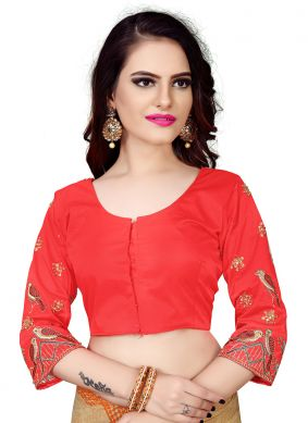 Red Embroidered Faux Chiffon Designer Blouse